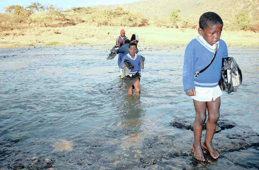 Crossing a river to get to school