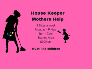 House Keeper needed in Barnes area