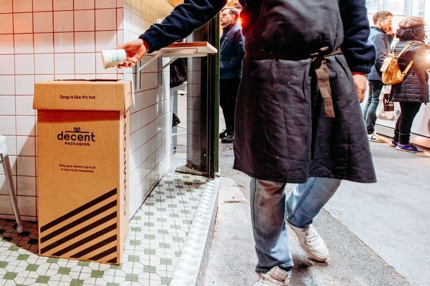 bin for compostable decent packaging