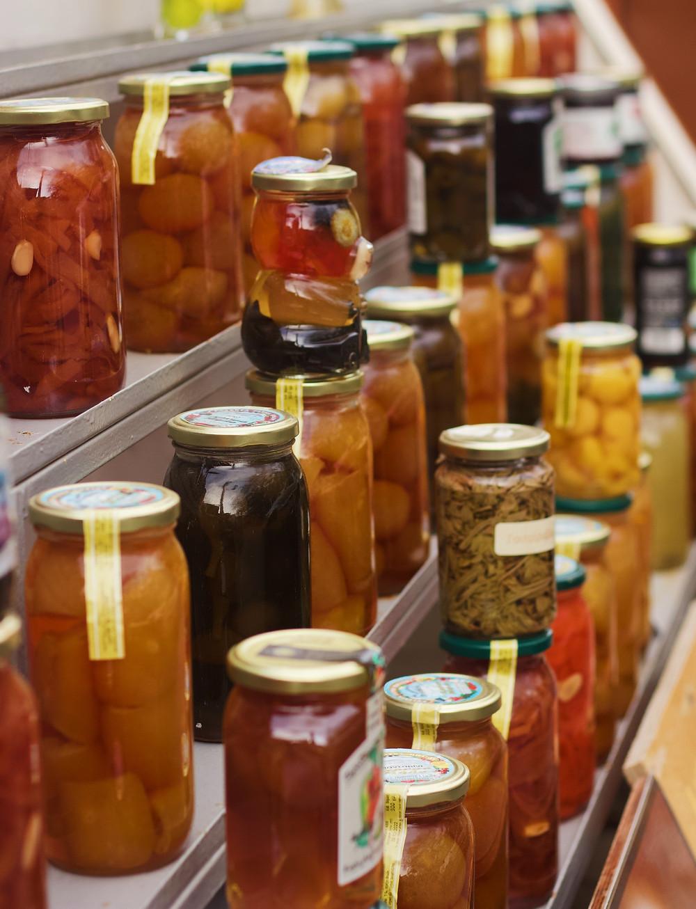 assorted food in jars