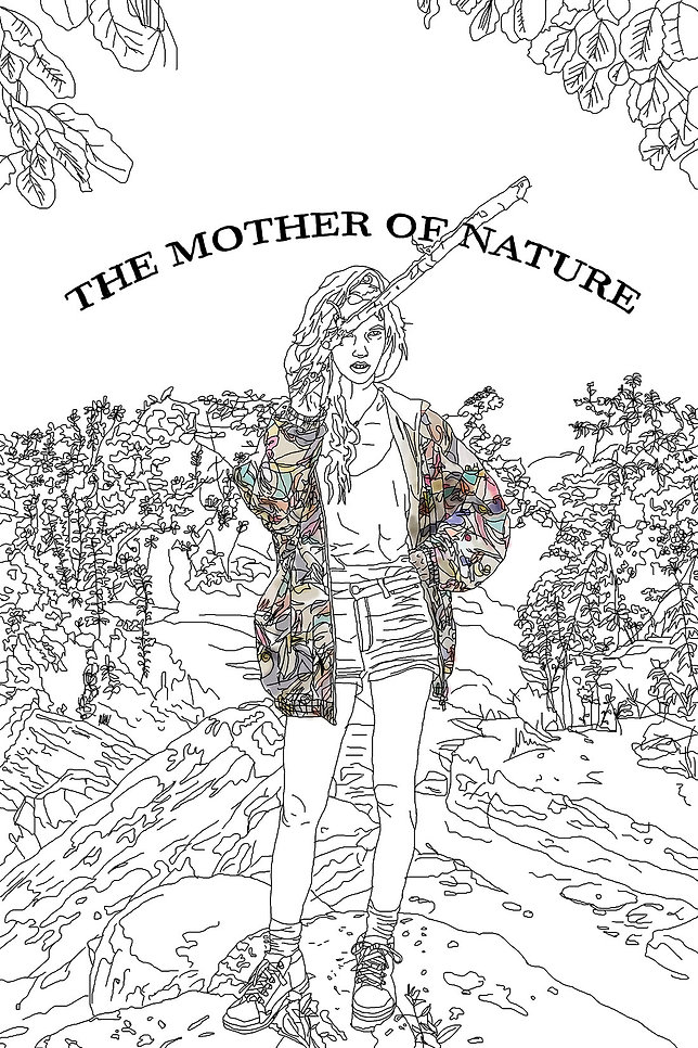 a woman in nature illustration. mother of the nature. emy sato illustration @ilustreemy