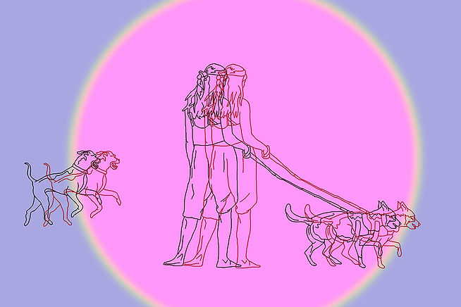girls with dogs illustration. barcelona. friendship. Emy Sato @ilustreemy