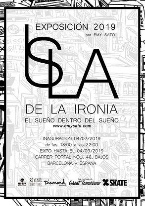 Poster from the Exhibition Isla de la Ironia, Emy Sato illustration. @ilustreemy