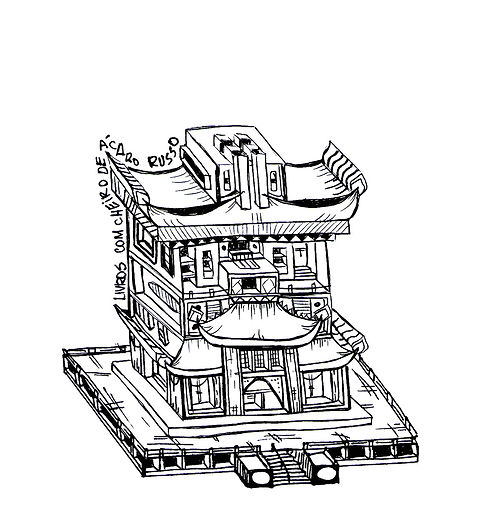 Illustration of a detailed chinese monastery. Emy Sato Illustration. @ilustreemy