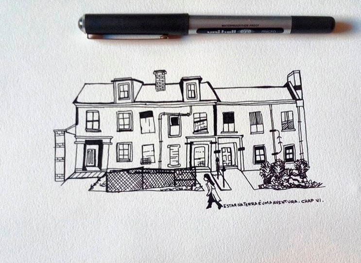 illustration of a house with a woman walking on the front. Illustration with the size os a pencil.  Emy Sato Illustration. @ilustreemy