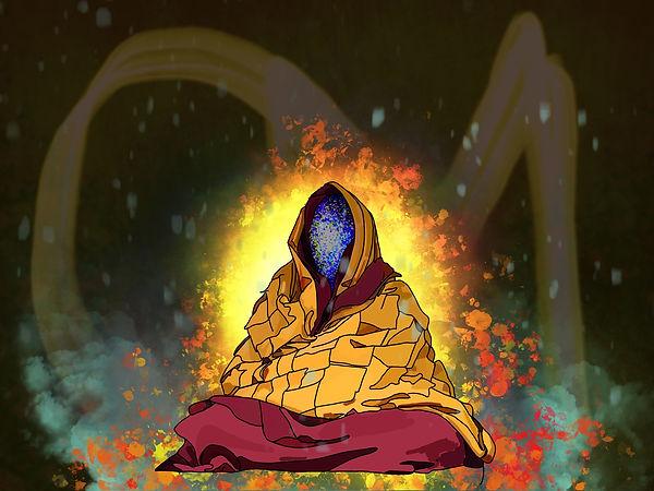 Dalai Lama illustration. Emy Sato illustration @ilustreemy