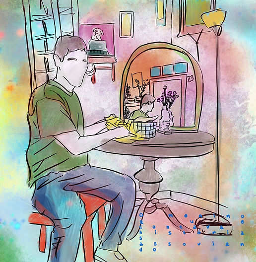 a guy eating at home illustration. Emy Sato @ilustreemy