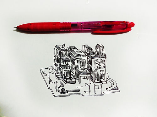 Small illustration of the size of a pen.  Emy Sato Illustration. @ilustreemy