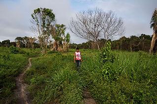 A boy walking in the amazonia jungle