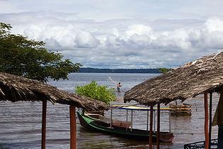 Man fishing in the Xingu river