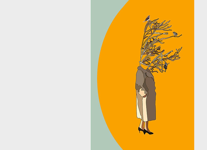 woman with tree head and birds as friends. Emy Sato illustration @ilustreemy