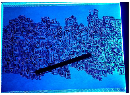 A illustration of a detailed city with a shine blue background