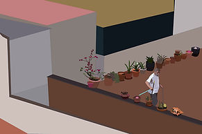 man in his apartament taking care of the flowers in barcelona. emy sato @ilustreemy