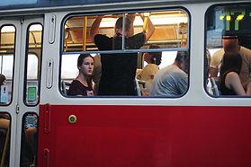 Girl in a train in prague