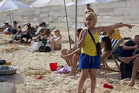 Kid in a beach in Seine River, Paris summertime
