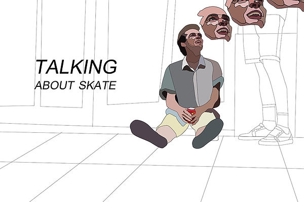talking about skate, skater talking about skate in macba illustration. Barcelona. Emy Sato @ilustreemy