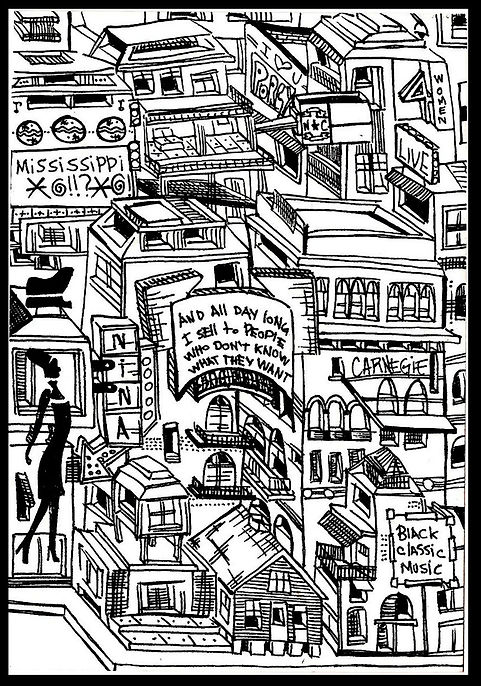 Illustration of a city inspired in Nina Simone life. Here house, school, songs and quotes.  Emy Sato Illustration. @ilustreemy