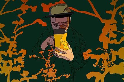 a guy taking tabaco illustration in barcelona emy sato illustration @ilustreemy