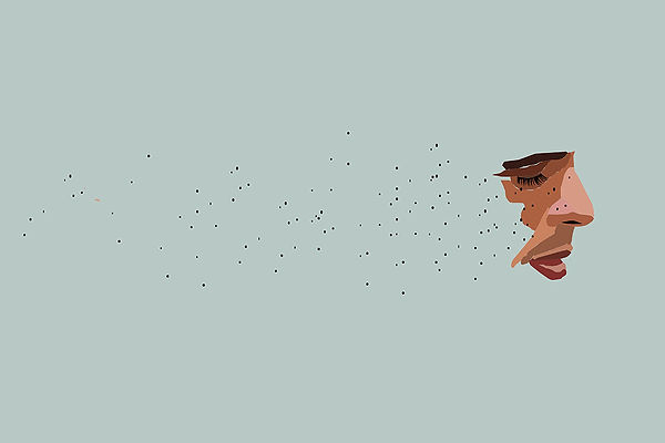Freackles flying apart from a face man illustration, Emy Sato @ilustreemy