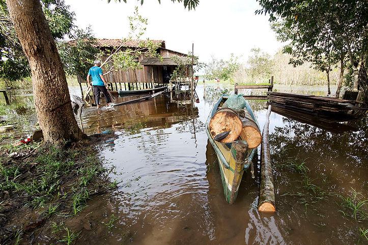 Man in xingu river