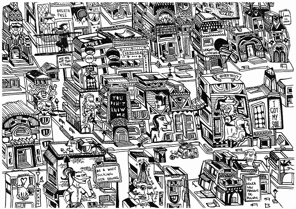 detailed city illustration from barcelona thoughts