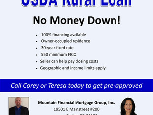 USDA Rural Home Loans offer 100% financing for Rural properties. Call Corey or Teresa today to learn