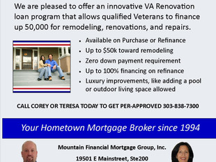 We are pleased to offer an innovative VA Renovation loan that allows qualified Veterans to finance u