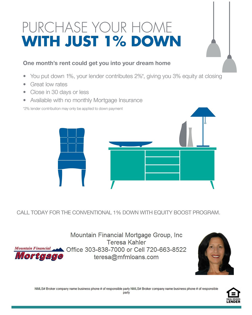 Now you can purchase a home with only a 1% down payment. No income limits in Jefferson County Colorado. Call or email me for details.