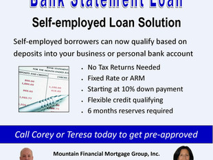 Bank Statement Loan available for Self-Employed Borrowers