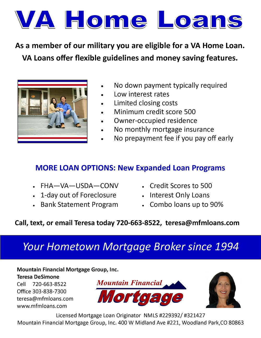 As a member of our military you are eligible for a VA Home Loan!
