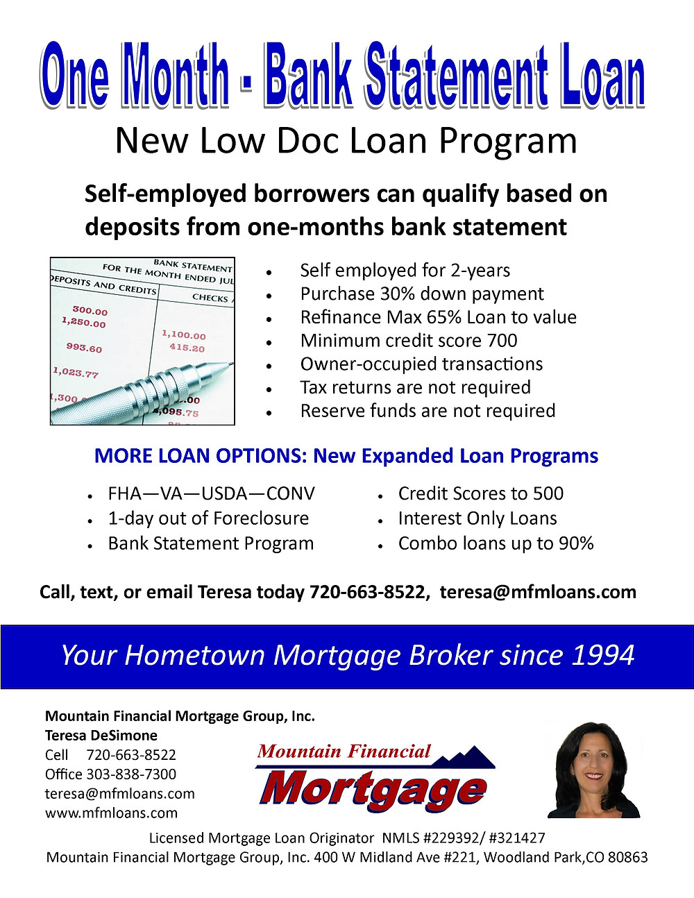 New low doc loan program for the self-employed borrower