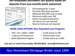 New Low Doc Loan Program! The One Month Bank Statement Loan