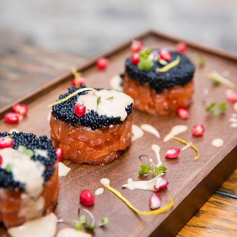 Salmon & Pomegranate Tartare | Sorrel Mustard Emulsion | Polanco Sustainable Oscietra Caviar @ A Moveable Feast Catering