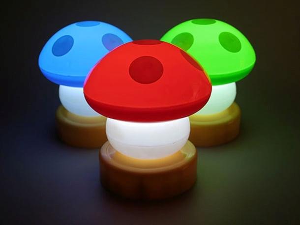 luminária de mesa de cogumelos coloridos