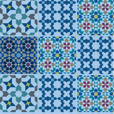 adesivo de azulejo padrão azulado