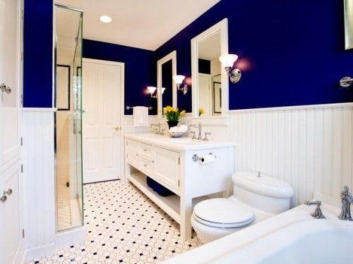 Banheiro com tom de azul