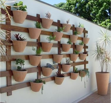 horta vertical numa parede anteriormente vazia