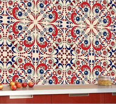 adesivo colorido de azulejo com tom vermelho