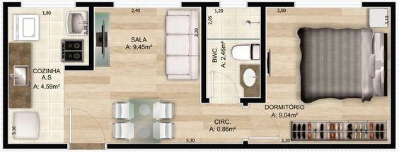 planta baixa humanizada de apartamento
