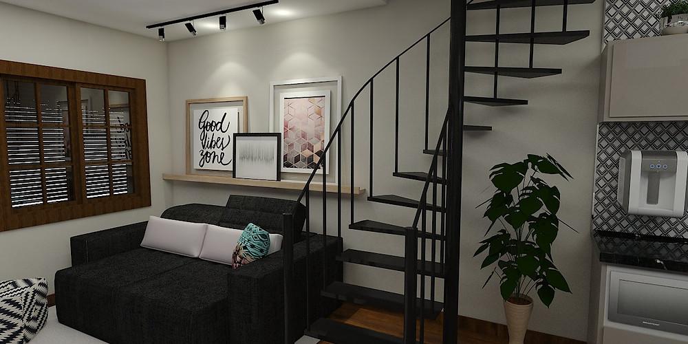 decoração de sala preto, branco e cinza com toque de cor sutil