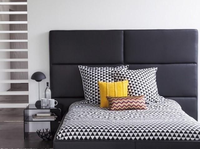 decoração preto, branco e cinza em estampas geométricas