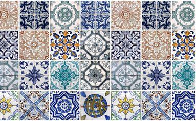 adesivo de azulejo com padrão azulado e neutro