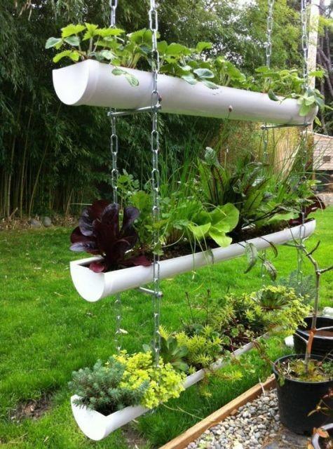 horta e jardim vertical em cano de pvc