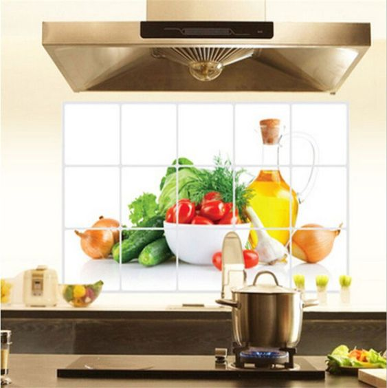 adesivo de cozinha com imagens de verduras e legumes