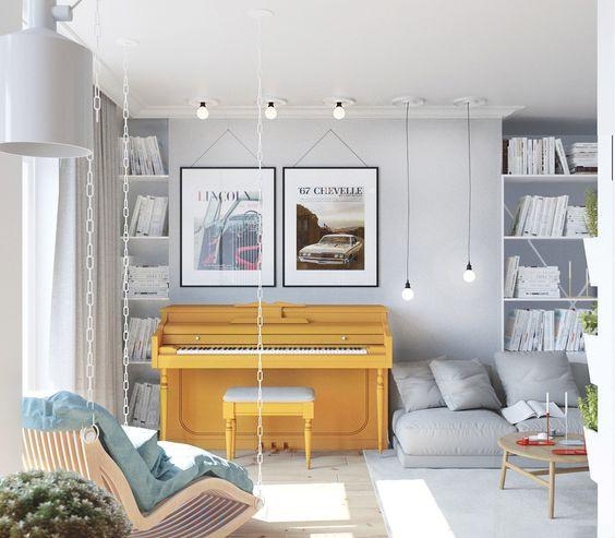Piano como elemento central da decoração