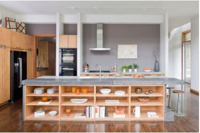 bancada de cozinha funcional com prateleiras