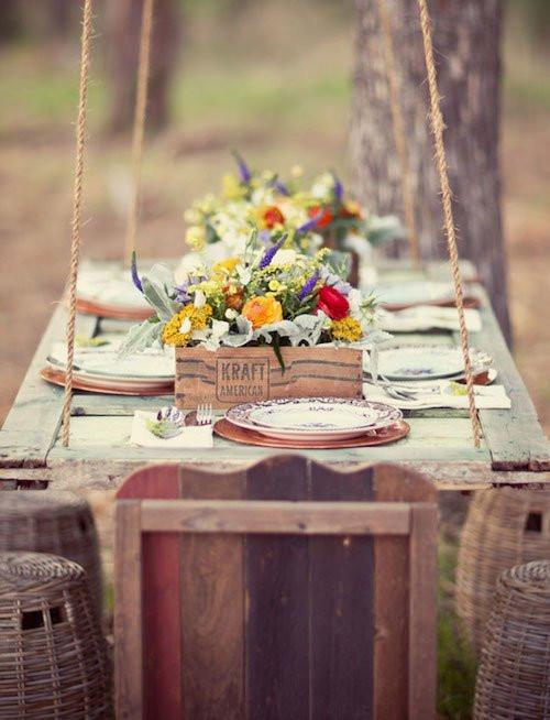 porta suspensa como mesa para jardim
