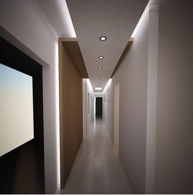 corredor com iluminação