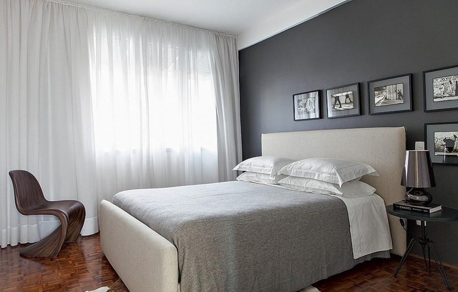 piso e a cadeira de madeira moderna acalentando o quarto frio preto branco e cinza