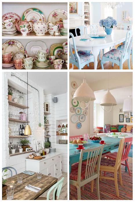 sala de jantar com decoração vintage